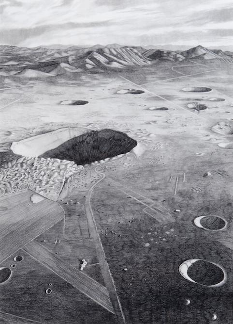 """Sedan Crater, Nevada Test Site, after 1972"" 2012, graphite and radioactive charcoal, 30"" x 22"""