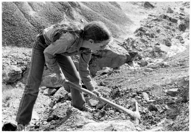 India, age 12, digging up part of a stegosaurus she found in 1978