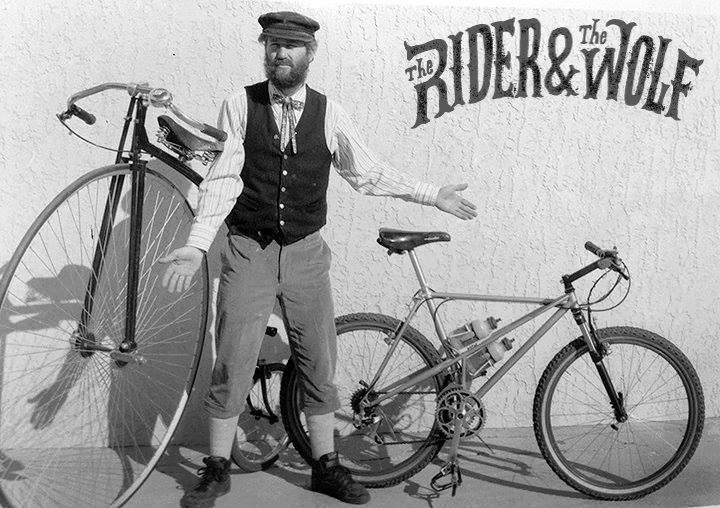 Mike Rust with his ordinary (aka hi-wheeler, aka pennyfarthing) and his Shorty