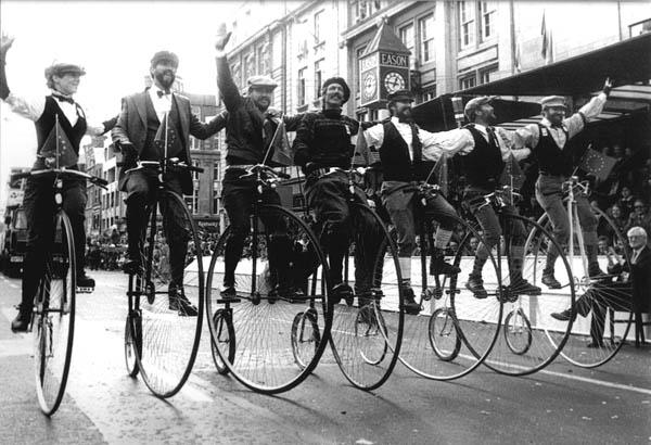 """The Flying Rust Brothers"" in Dublin on their hi-wheelers (Mike Rust is second from right)"