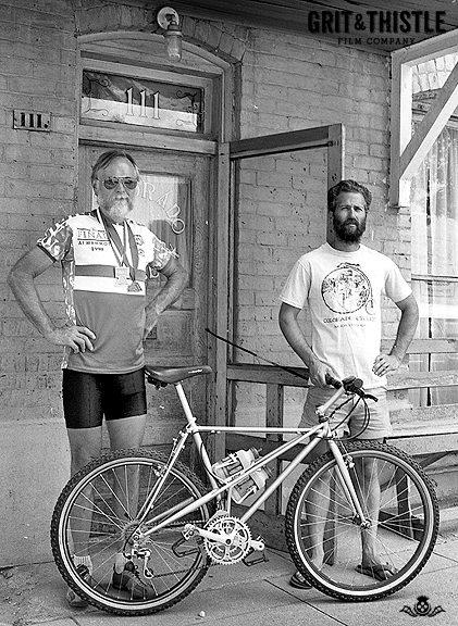 Don McClung and Mike Rust with a Shorty in front of Colorado Cyclery in Salida
