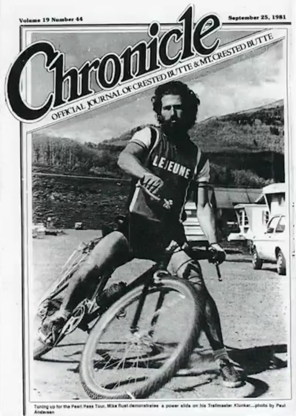 Cover of the Crested Butte Chronicle featuring Mike Rust in 1981