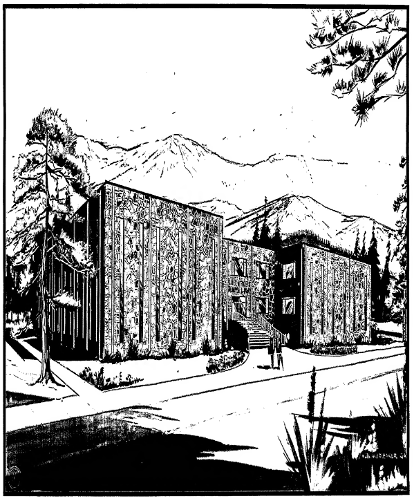 Architectural rendering of the proposed Rampart College Library (unbuilt)