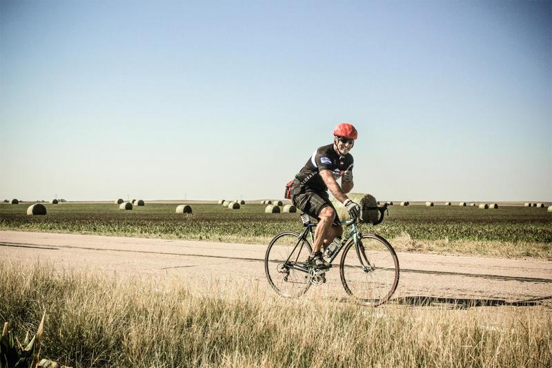 A cyclist along a previous Pedal the Plains route