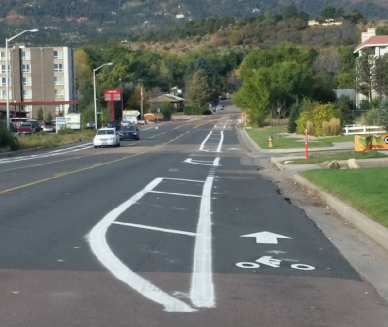 A similar buffered bike lane on Arcturus Drive in Colorado Springs.