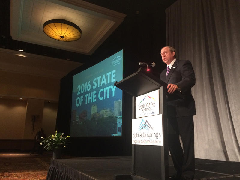 Colorado Springs Mayor John Suthers delivers the 2016 'State of the City' address, Sept. 2016