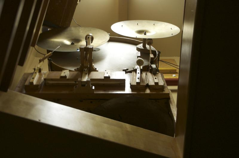 A drumset, which can be triggered from the organ console.