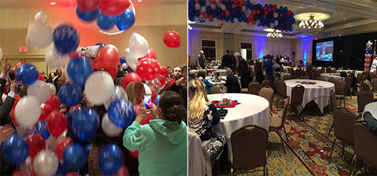 Repulicans celebrate Donald Trump's victory at the El Paso County Republican Watch Party (Left); Many had cleared out of the Democrats' watch party by the time Donald Trump's victory was announced.