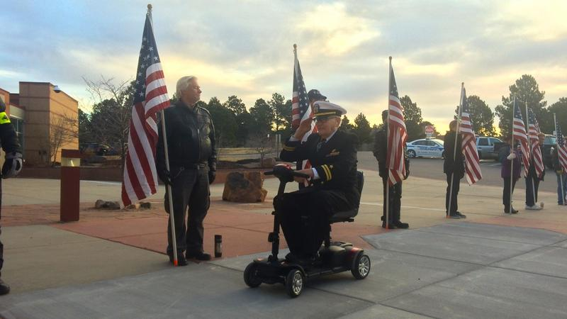 Lt. Downing was welcomed by the Colorado Patriot Guard at Lewis Palmer Middle School.