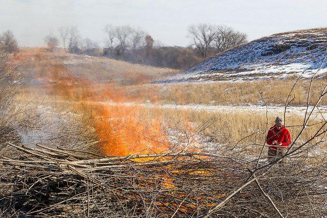 Pile burning is a type of prescribed burn that takes care of hazardous debris.
