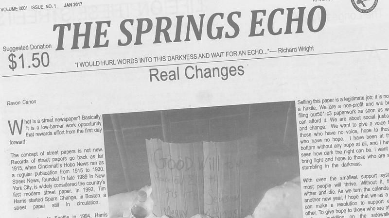 The Springs Echo is a new street-paper sold in Colorado Springs
