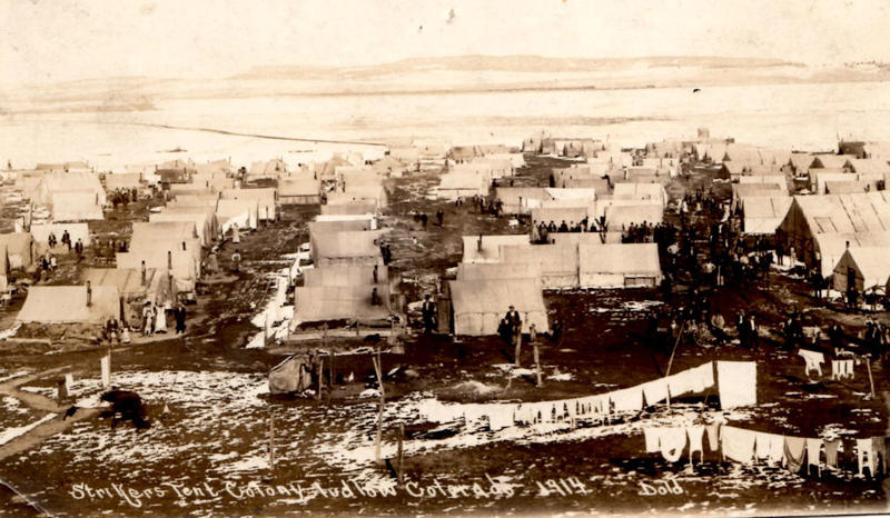 A postcard depicting the tent colony in 1914 at Ludlow
