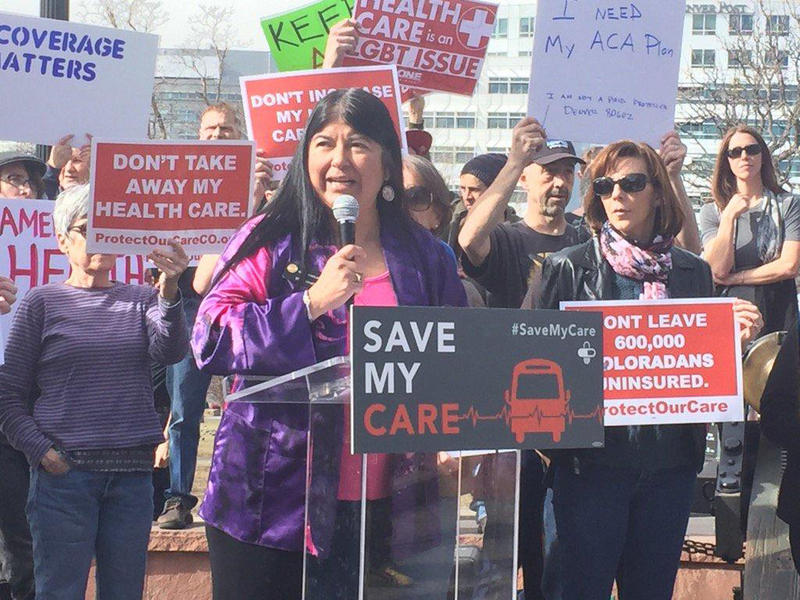 Protesters rallied outside the capitol building to protest national efforts to repeal the Affordable Care Act.