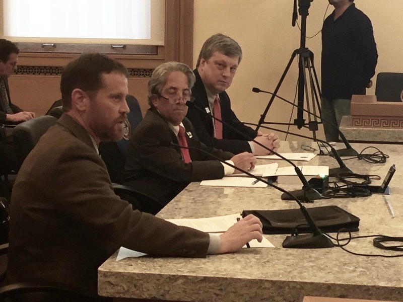 Colorado Secretary of State Wayne Williams (right) testifying in support of Senate Bill 40, which would require agencies to provide digital records where possible.