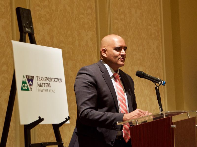 CDOT executive director Shailen Bhatt speaking at the Antlers Hotel in Colorado Springs, 5/16/17.