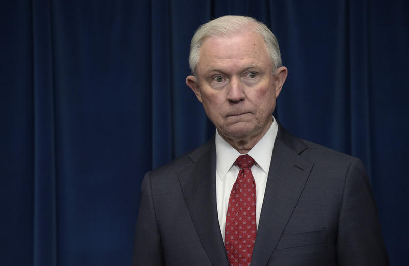 In this March 6, 2017 file photo, Attorney General Jeff Sessions waits to make a statement at the U.S. Customs and Border Protection office in Washington.