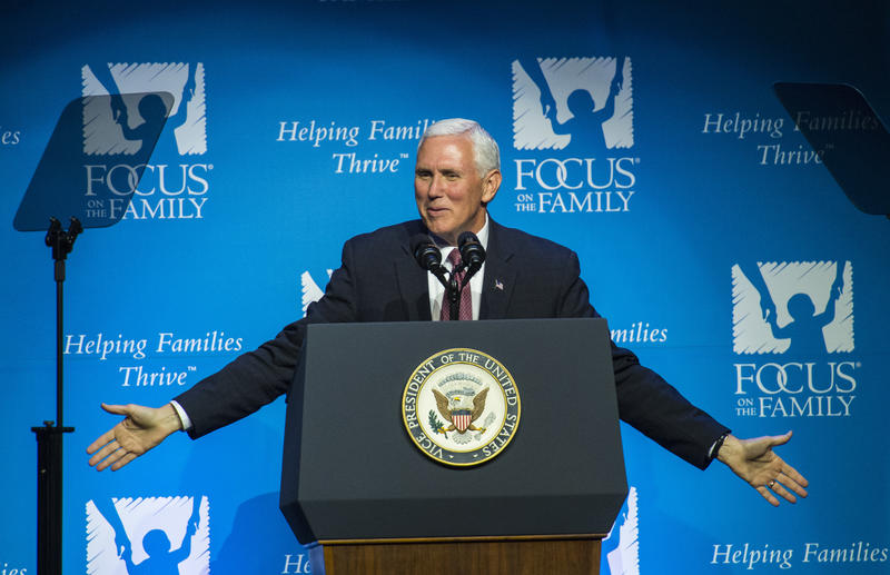 Vice President Mike Pence speaks during Focus on the Family's 40th anniversary celebration Friday, June 23, 2017, during his visit to Colorado Springs, Colo.