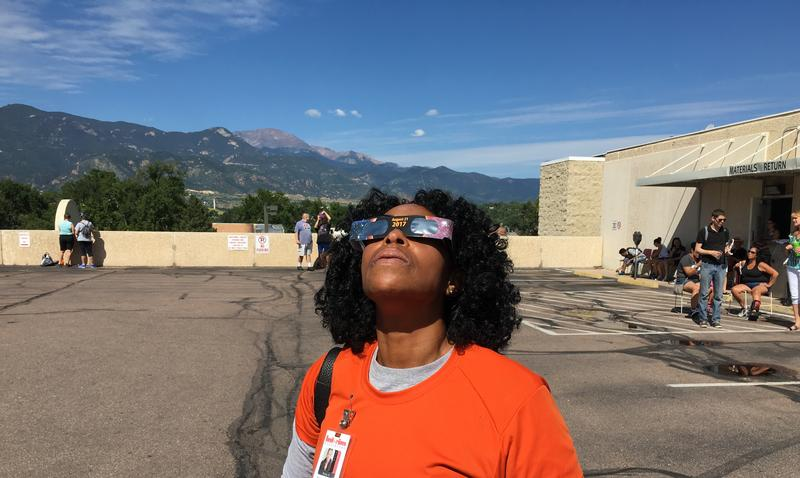 Renay Harris-Faison caught the first sliver of the solar eclipse from the parking lot of the Pikes Peak Library District's Downtown branch. This was the second time Harris-Faison had seen a solar eclipse.