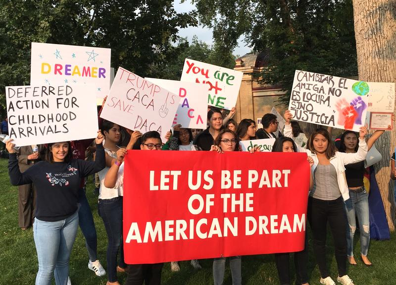 Young people led a crowd of DACA supporters on a march through downtown Colorado Springs.