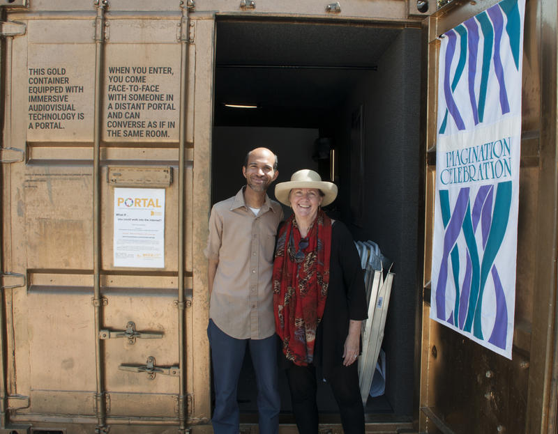 "Brian Elyo and Deborah Thornton help to run the ""Portal,"" which has been set up in front of the Colorado Springs Pioneers Museum since July."