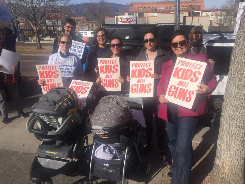 Community members outside Palmer High School in Colorado Springs, Colorado
