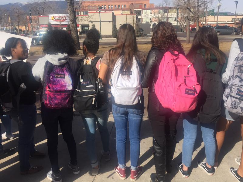 Students outside Palmer High School in Colorado Springs, Colorado