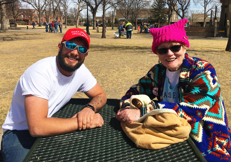 Zach Rose and Deirdre Greevy met at the #MarchForOurLives demonstration in Colorado Springs. Despite their divergent politcial views, they said they managed to find common ground during the course of an hour-long conversation about gun violence.