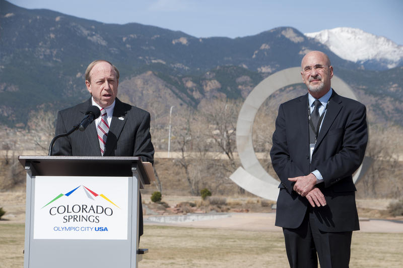Colorado Springs Mayor John Suthers (left) and City Council President Richard Skorman (right) at America The Beautiful Park in Colorado Springs.