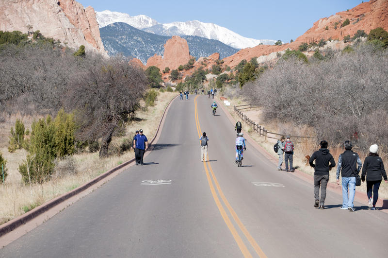 "The Garden of the Gods, seen here during a recent ""motorless morning,"" where cars were temporarily restricted from the park."