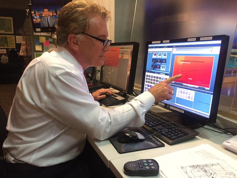 Denver meteorologist, Mike Nelson, preparing his weathercast with the help of a graph from Climate Central