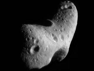 This image, taken by NASA's Near Earth Asteroid Rendezvous mission in 2000, shows a close-up view of Eros, an asteroid with an orbit that takes it somewhat close to Earth.