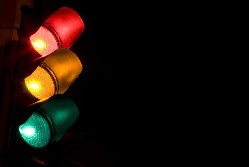 Long exposure of a traffic light.