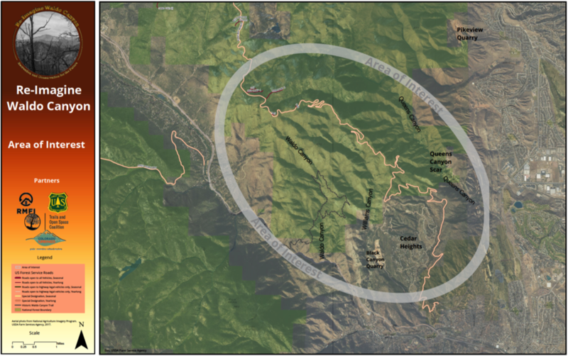 A map of the focus area for the Re-Imagine Waldo Canyon project