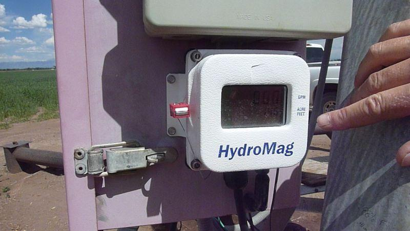 A hydro pump meter which shows how much water Shriver draws from the aquifer.