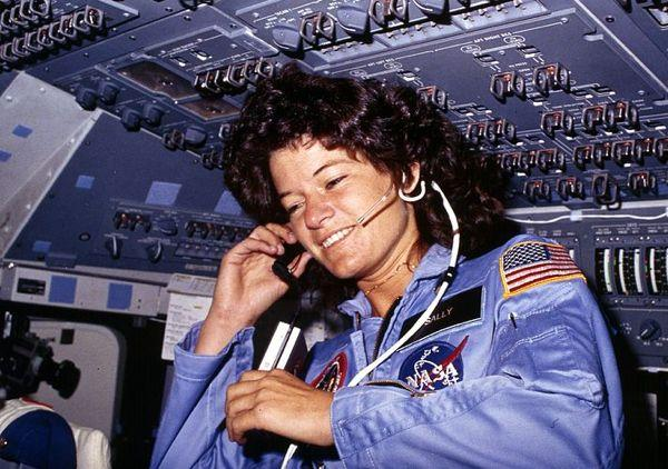 Sally Ride, America's first woman astronaut communicates with ground controllers from the flight deck during the six day mission of the Challenger. National Aeronautics and Space Administration., 06/18/1983 – 06/24/1983.