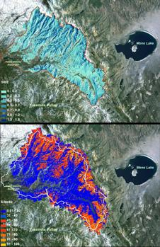 Researches are using lasers to determine snowpack. These images show measurements of snow water equivalent (top) and snow albedo, or reflectivity (image) for the Tuolumne River Basin in California's Sierra Nevada in April, 2013. Albedo shows the percentage of sunlight reflected back; the lower the albedo, the faster the snowmelt rate and runoff.
