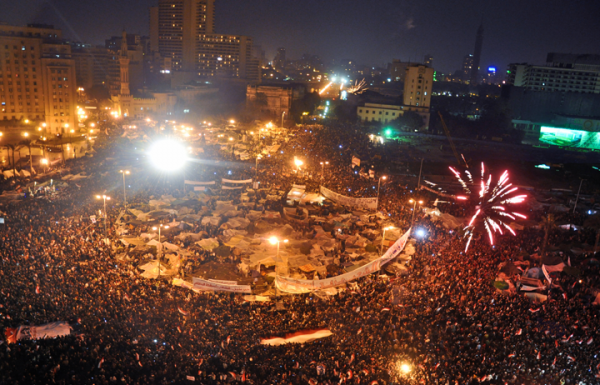 Tahrir Square, Eqypt, after the resignation of Hosni Mubarak in 2011.
