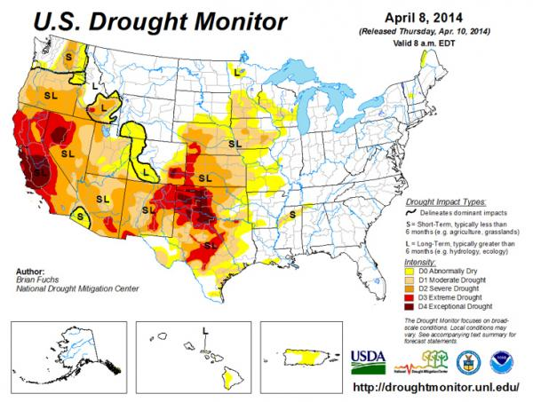 Current drought conditions across the country.