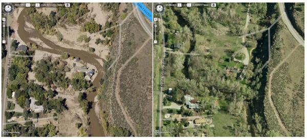 Post flood (left) and pre-flood (right) aerial photos of Northern St. Vrain Creek deviation between Apple Valley Road and Highway 36.
