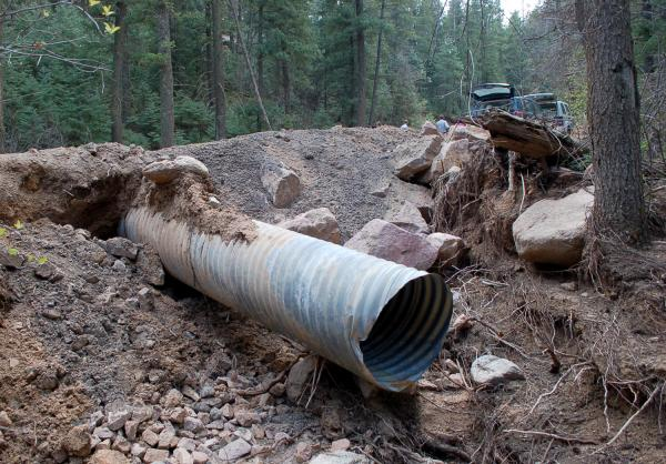 One of several culverts to be replaced along Old Stage Road