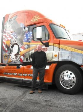 Air Force veteran Dave Carter drives a truck called the 'Ride of Pride' for Schneider National, Inc.