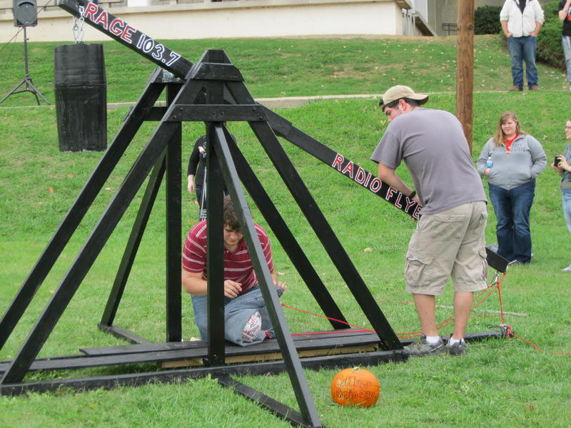 Using a homemade trebuchet, the RAGE staff held their own Punkin Chunkin contest on campus.
