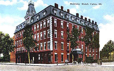The five-story hotel stood in Cairo, Illinois's downtown district for 85 years before it was consumed by flames in 1943.