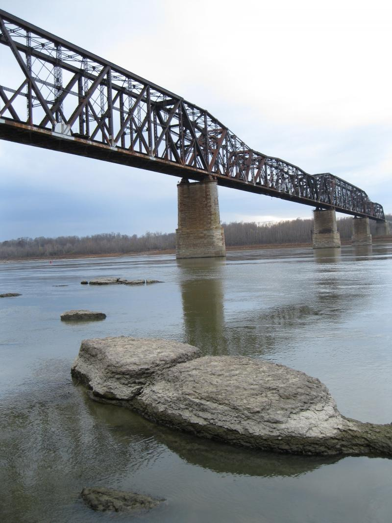 The railroad bridge at Thebes, Illinois crosses the Mississippi River.