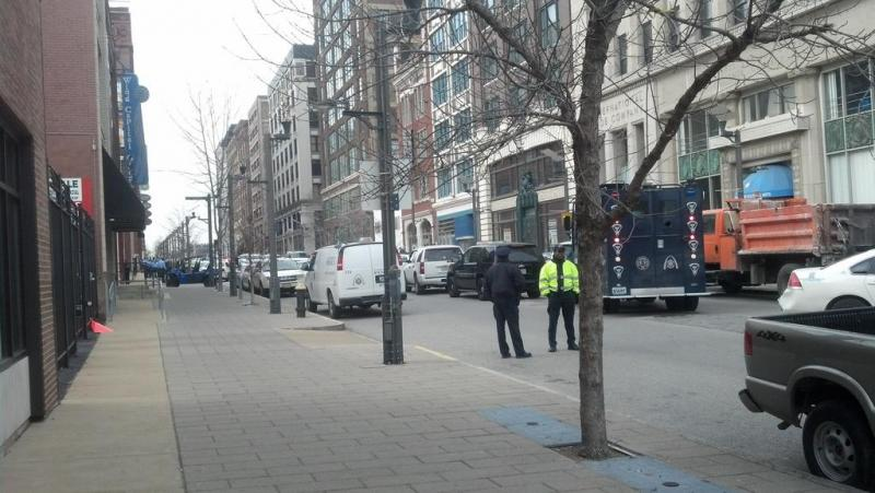 The scene outside the Stevens Institute of Business And Arts where a shooting has been reported