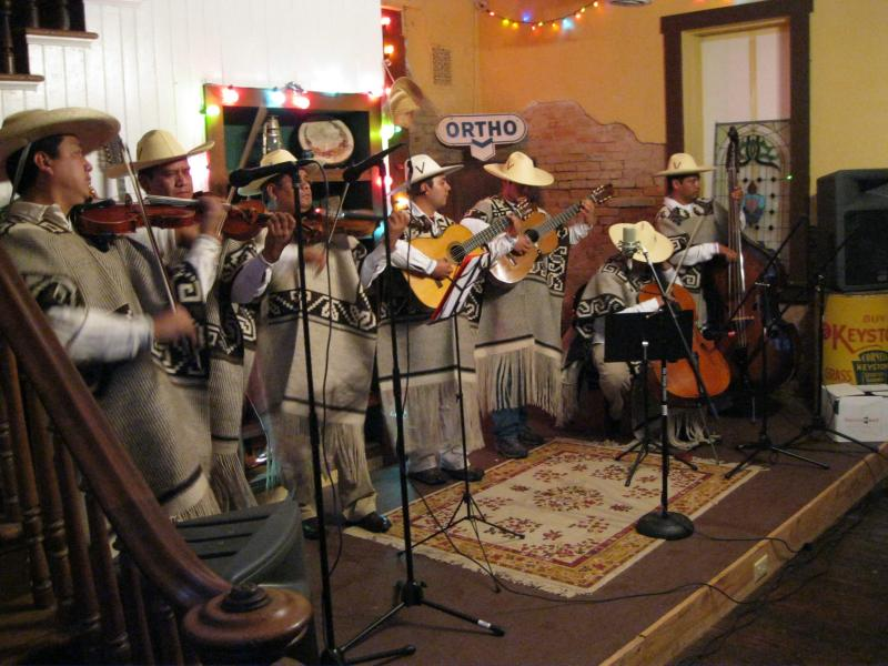 The band P'indékuecha performs at the Old Feed Store in Cobden, Illinois. P'indékuecha plays traditional music from the Purepecha culture in Michoacán province in Mexico.