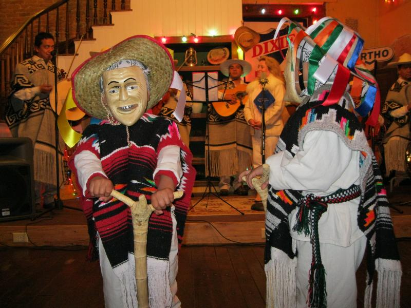 Two chidren from Cobden, Illinois dress as traditional Purepecha dancers for the band P'indékuecha.