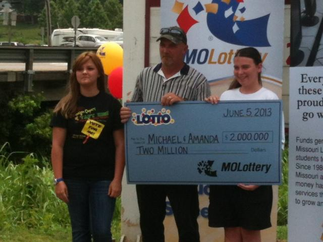 Dexter residents Amanda Richardson and Michael Magarian were presented with a check for $2 million on Monday. The couple recently won the Missouri Lottery. They buy Lotto tickets twice a week from the Dexter On the Go gas station.