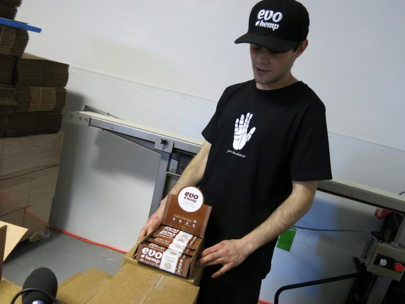 EvoHemp, a Denver-based protein bar company, churns out thousands of bars each month that include hemp seeds from Canada. Ari Sherman, the company's founder says he's anxious for a U.S. hemp crop.