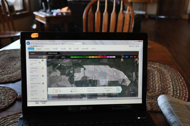 Climate Basic gives users like Shelley Finfrock a Google satellite view of their fields, with rainfall estimates for each listed on the left side of the screen.